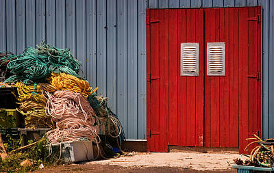 Shed Doors And Tangled Nets Art Print by Louise Heusinkveld