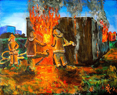 Over Hang Painting - Shed Fire At Midnight by R Allan Lister