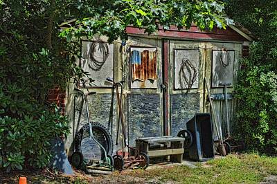 Photograph - Shed, Garden Tools And The American Flag by Mike McCool