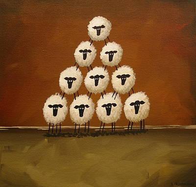 Folk Art Painting - Sheep A Mid - Folk Art by Debbie Criswell