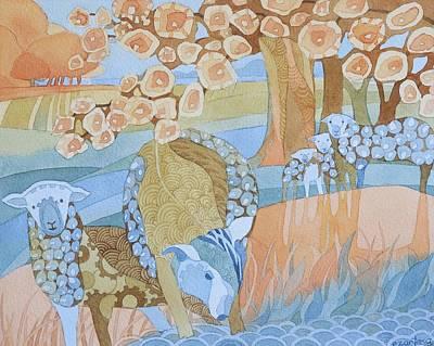 Painting - Sheep and Cherry Trees by Ezartesa Art