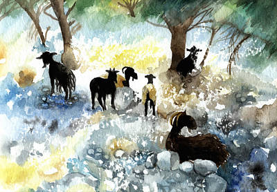 Crete Painting - Sheep And Goats by Lydia Irving
