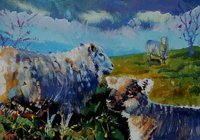 Lamb Drawing - Sheep And Lamb On The Moor by Mike Jory