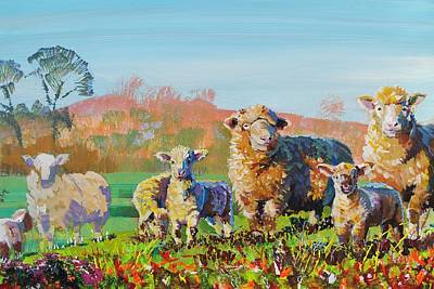 Painting - Sheep And Lambs In Devon Landscape Bright Colors by Mike Jory
