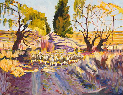 Painting - Sheep And Shepherd At Sunset Oil Painting Bertram Poole by Thomas Bertram POOLE