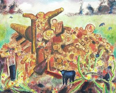 Woodpile Painting - Sheep And Woodpile by Suzanne  Marie Leclair