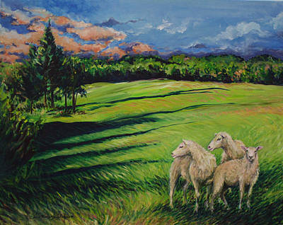 Painting - Sheep At Dusk by Lisa Kimberly Glickman
