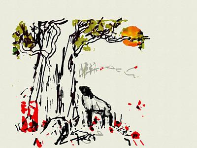 Digital Art - Sheep At Sunset by Debbi Saccomanno Chan