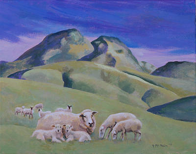 Painting - Sheep At Sutter Buttes by Susan McNally