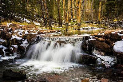 Ice In Water Photograph - Sheep Creek Waterfall by TL Mair