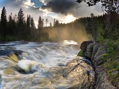Forest Light Photograph - Sheep Falls Sunset by Leland D Howard