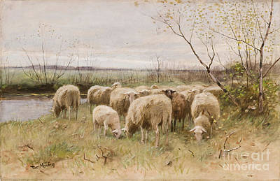 Grazing Painting - Sheep by Francois Pieter ter Meulen