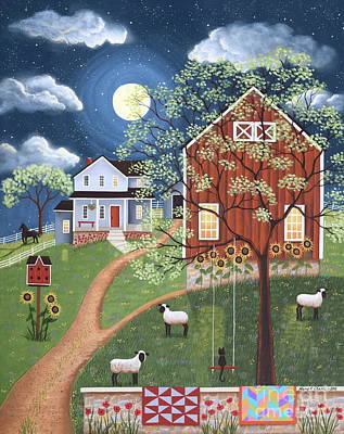 Sheep Hill Farm Art Print by Mary Charles