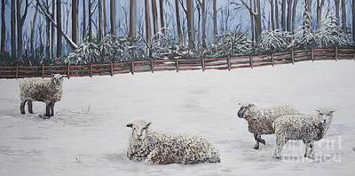 Painting - Sheep In Field by Reb Frost