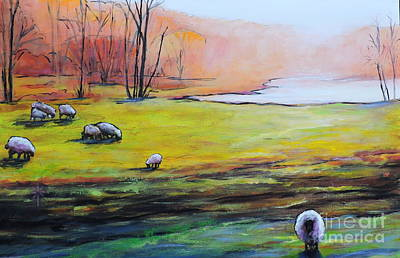 Painting - Sheep In Pasture by Jodie Marie Anne Richardson Traugott          aka jm-ART