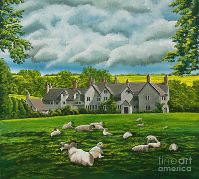 English Gouache Painting - Sheep In Repose by Charlotte Blanchard