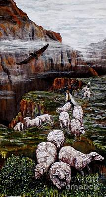 Sheep In The Mountains  Art Print