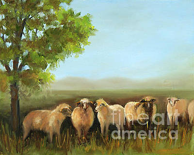 Painting - Sheep In The Pasture by Pati Pelz