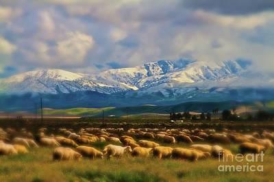 Sheep In Winter Original by Gus McCrea