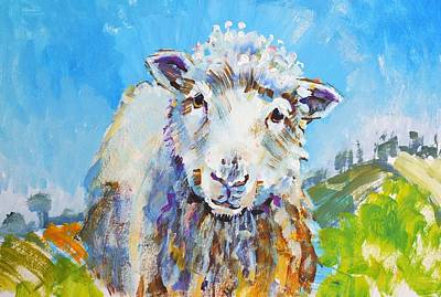 Painting - Sheep Looking At You With Landscape by Mike Jory