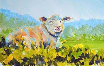 Drawing - Sheep Lying Down In English Countryside by Mike Jory