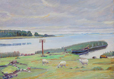 Painting - Sheep Near Fjord by Mountain Dreams