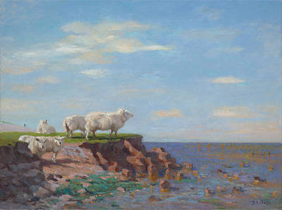 Het Painting - Sheep On Eroded Coast by Ben Rikken