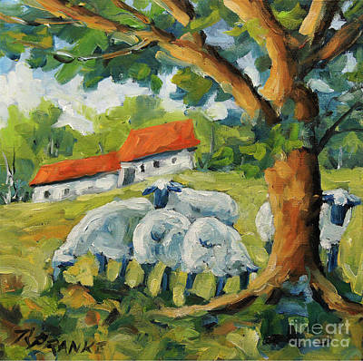 Quebec Painting - Sheep On The Farm by Richard T Pranke