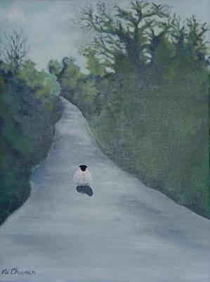 Sheep On The Irish Country Road Art Print by Elaine Cummins