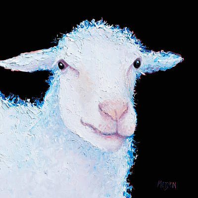Painting - Sheep Painting On Black by Jan Matson