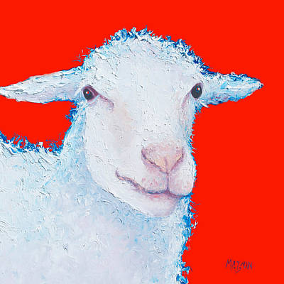 Kitchen Wall Decor Painting - Sheep Painting On Red Background by Jan Matson