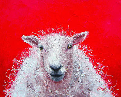 Country Cottage Painting - Sheep Painting Victor by Jan Matson