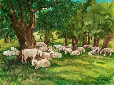 Sheep Pasture Ithaca New York Print by Ethel Vrana