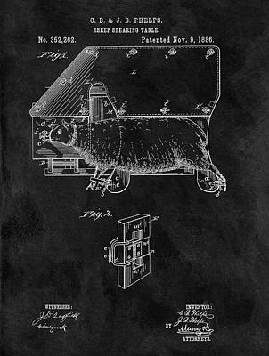 Sheep Shearing Table Patent Art Print by Dan Sproul