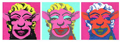 Sheep Triptych Original by Bizarre Bunny