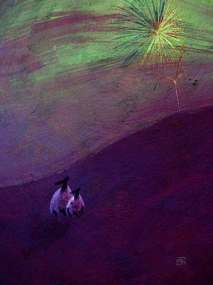 Sheep Watch The Fireworks  Art Print