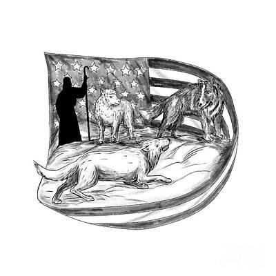 Herding Dog Digital Art - Sheepdog Protect Lamb From Wolf Tattoo by Aloysius Patrimonio