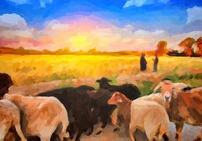 Ovine Painting - Sheeps by Dhouib Skander