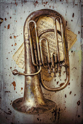 Sheet Music Photograph - Sheet Music And Old Horn by Garry Gay