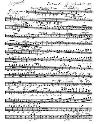 Sheet Music Drawing - Sheet Music For The Overture To Egmont by Beethoven
