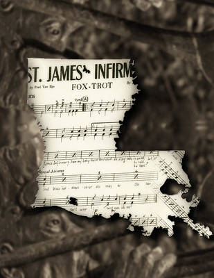 Music Map Photograph - Sheet Music Louisiana by Eugene Campbell