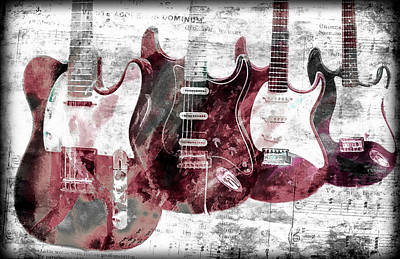 Photograph - Sheet Notes And Electric Guitars by Athena Mckinzie
