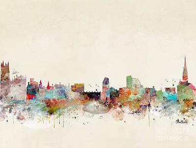 Painting - Sheffield City Skyline by Bleu Bri