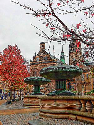 Digital Art - Sheffield Town Hall And Peace Gardens by Dorothy Berry-Lound