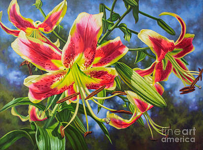 Oriental Lily Painting - Sheherazade Lilies 1 by Fiona Craig