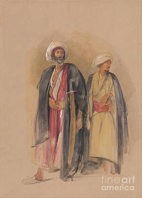 Sheik Hussein Of Gebel Tor And His Son Art Print by Celestial Images