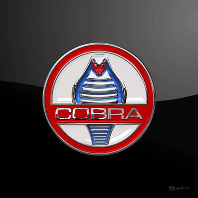 Digital Art - Shelby Ac Cobra - Original 3d Badge On Black by Serge Averbukh