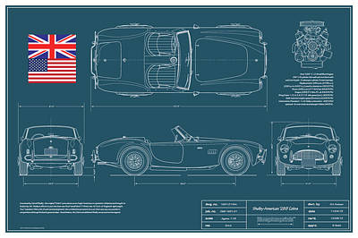 Cobra Drawing - Shelby-american 289 Cobra by Douglas Switzer