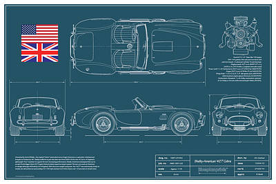 Sport Car Drawing - Shelby American 427 Cobra Blueplanprint by Douglas Switzer