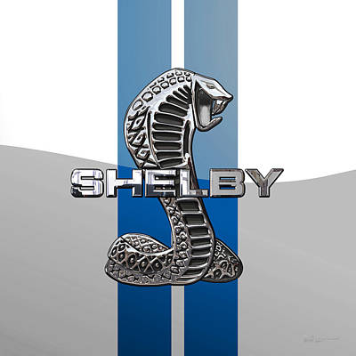 Shelby Cobra - 3d Badge On Blue And White Original by Serge Averbukh